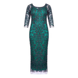 MARINA RINALDI EMBROIDERED TULLE BEADED GOWN GREEN - Plus Size Collection