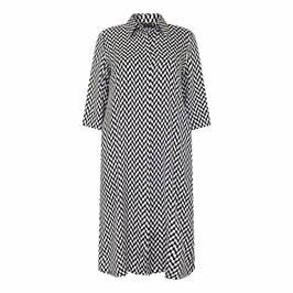 MARINA RINALDI SATIN SHIRT DRESS BLACK AND WHITE - Plus Size Collection