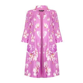 MARINA RINALDI SILK BLEND FLORAL PRINT OCCASION COAT - Plus Size Collection