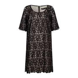 MARINA RINALDI BLACK LACE DRESS WITH CONTRAST LINING - Plus Size Collection