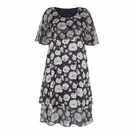 MARINA RINALDI GEORGETTE AND SATIN PEONY PRINT DRESS - Plus Size Collection