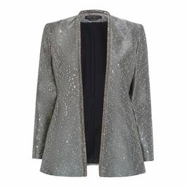 MARINA RINALDI SILVER SEQUIN EMBELLISHED JACKET - Plus Size Collection