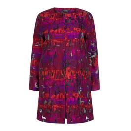 MARINA RINALDI JAQUARD GEOMETRIC DUSTER COAT - Plus Size Collection