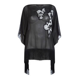 MARINA RINALDI BLACK SILK EMBROIDERED CAPE - Plus Size Collection