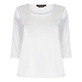 MARINA RINALDI PURE SILK SATIN TUNIC WHITE - Plus Size Collection