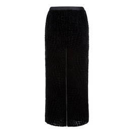 MARINA RINALDI VELVET DEVORÉ TROUSERS BLACK  - Plus Size Collection
