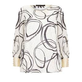 MARINA RINALDI SPLIT ARM WHITE AND BLACK TUNIC - Plus Size Collection