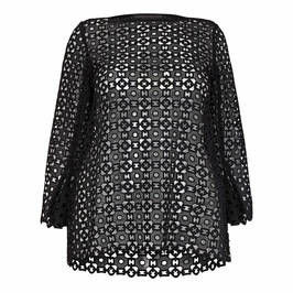 MARINA RINALDI CROCHET TUNIC BLACK - Plus Size Collection