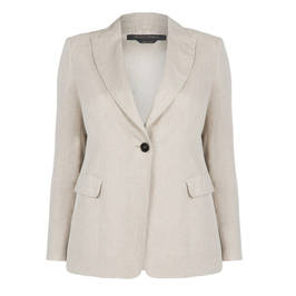 MARINA RINALDI ECRU LINED LINEN BLAZER  - Plus Size Collection