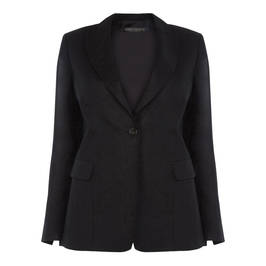 MARINA RINALDI BLACK LINED LINEN BLAZER  - Plus Size Collection