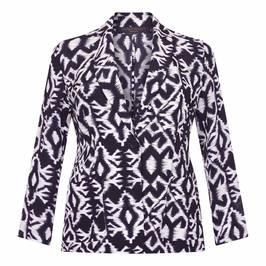 MARINA RINALDI PURE SILK IKAT PRINT JACKET - Plus Size Collection