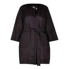 MARINA RINALDI LINEN JACKET BLACK - Plus Size Collection