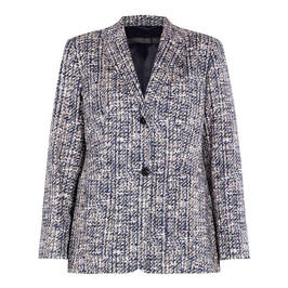 MARINA RINALDI TWEED JACKET NAVY - Plus Size Collection