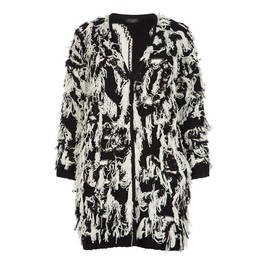 MARINA RINALDI BLACK AND WHITE LONG KNITTED JACKET - Plus Size Collection
