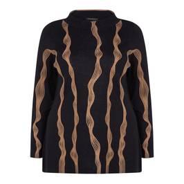 MARINA RINALDI MERINO WOOL SWEATER NAVY - Plus Size Collection