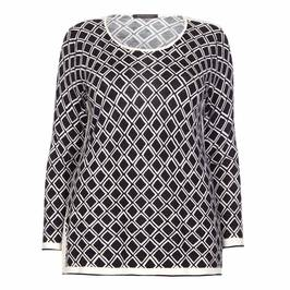 MARINA RINALDI MONOCHROME DIAMOND VIRGIN WOOL SWEATER - Plus Size Collection