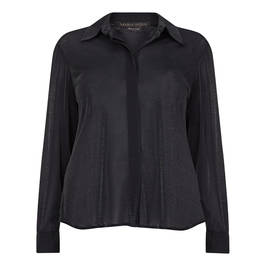 MARINA RINALDI LUREX JERSEY SHIRT BLACK - Plus Size Collection