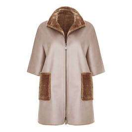 MARINA RINALDI FAUX-SHEEPSKIN REVERSIBLE COAT TAUPE - Plus Size Collection