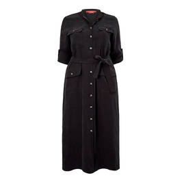 MARINA RINALDI COLLARLESS SHIRT DRESS BLACK - Plus Size Collection