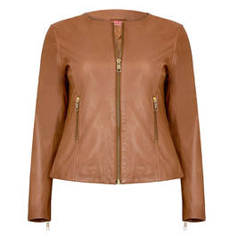 MARINA RINALDI LEATHER JACKET TAN - Plus Size Collection