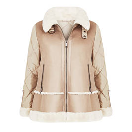 MARINA RINALDI FAUX-SHEEPSKIN JACKET SAND - Plus Size Collection