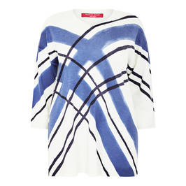 MARINA RINALDI PRINTED PURE WOOL JUMPER WHITE AND BLUE - Plus Size Collection