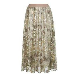 MARINA RINALDI FLORAL LACE SKIRT WITH SEQUIN AND EMBROIDERY - Plus Size Collection