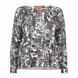 MARINA RINALDI COTTON BLEND PAISLEY SWEATER - Plus Size Collection