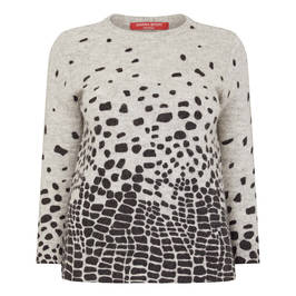 MARINA RINALDI ABSTRACT PRINT SWEATER GREY - Plus Size Collection