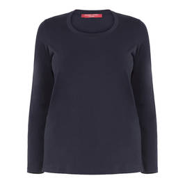 MARINA RINALDI NAVY ROUND NECK LONG SLEEVE TOP - Plus Size Collection