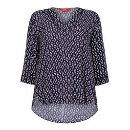 MARINA RINALDI PRINTED TUNIC NAVY - Plus Size Collection