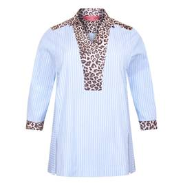 MARINA RINALDI TUNIC STRIPE TUNIC WITH LEOPARD TRIM - Plus Size Collection