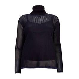 MARINA RINALDI SHEER RIBBED TOP - Plus Size Collection