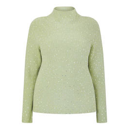 MARINA RINALDI EMBELLISHED WOOL BLEND JUMPER GREEN - Plus Size Collection