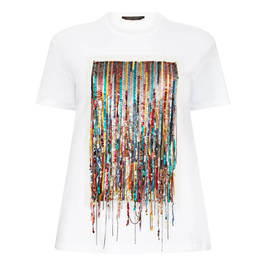 MARINA RINALDI WHITE T-SHIRT WITH MULTI COLOUR SEQUIN FRONT PANEL - Plus Size Collection