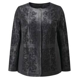 Marina Rinaldi black laser cut leather jacket - Plus Size Collection
