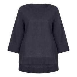 MARINA RINALDI LINEN TUNIC BLACK - Plus Size Collection