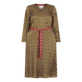 MARINA RINALDI FAN PRINT DRESS OLIVE - Plus Size Collection