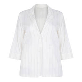 MARINA RINALDI WHITE LINEN PINSTRIPE SINGLE BREASTED BLAZER - Plus Size Collection