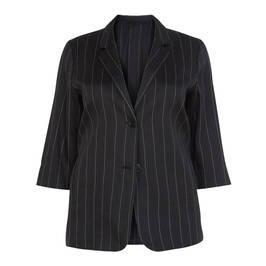 MARINA RINALDI BLACK LINEN PINSTRIPE SINGLE BREASTED BLAZER - Plus Size Collection