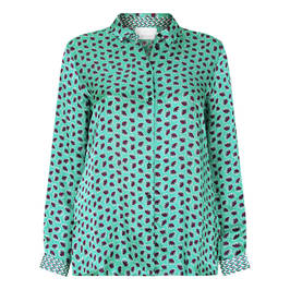MARINA RINALDI VOYAGE SATIN PRINT SHIRT GREEN - Plus Size Collection