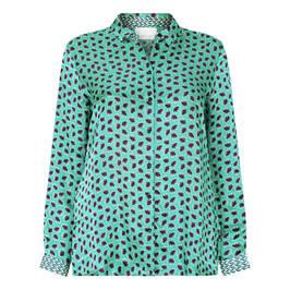 MARINA RINALDI SATIN PRINT SHIRT GREEN - Plus Size Collection