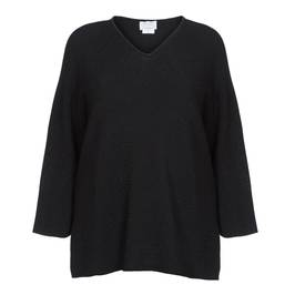 MARINA RINALDI BLACK COTTON AND LUREX SWEATER  - Plus Size Collection