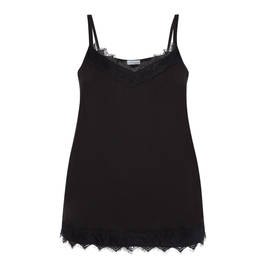 MAXIMA STRETCH JERSEY BLACK CAMI WITH LACE DETAIL - Plus Size Collection