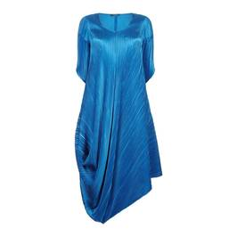 MASHIAH OCEAN BLUE PLEATED DRESS WITH THREE QUARTER SLEEVES  - Plus Size Collection