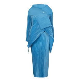 MASHIAH DRESS AND JACKET, PALE BLUE SATIN PLISSE - Plus Size Collection