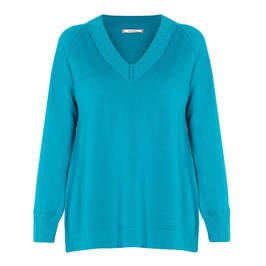ELENA MIRO WOOL AND CASHMERE BLEND SWEATER TEAL - Plus Size Collection