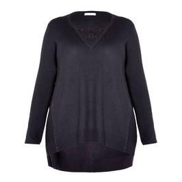 ELENA MIRO BLACK SWEATER WITH DIAMANTE DETAIL  - Plus Size Collection