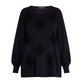 ELENA MIRO FLEUR DE LIS SWEATER BLACK  - Plus Size Collection