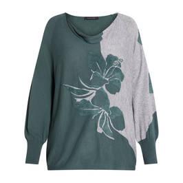 ELENA MIRO INTARSIA SWEATER GREEN AND GREY - Plus Size Collection